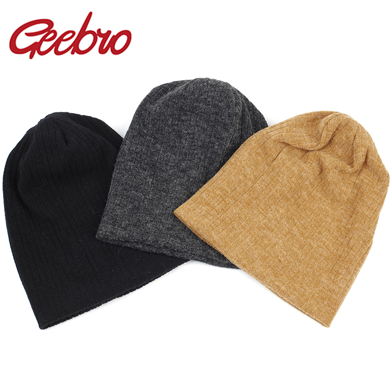 Geebro Women Winter Cotton Ribbed Beanies Hat Autumn Warmer  Slouchy Knitted Hat Ladies Stretch Striped Baggy Skullies Gorros