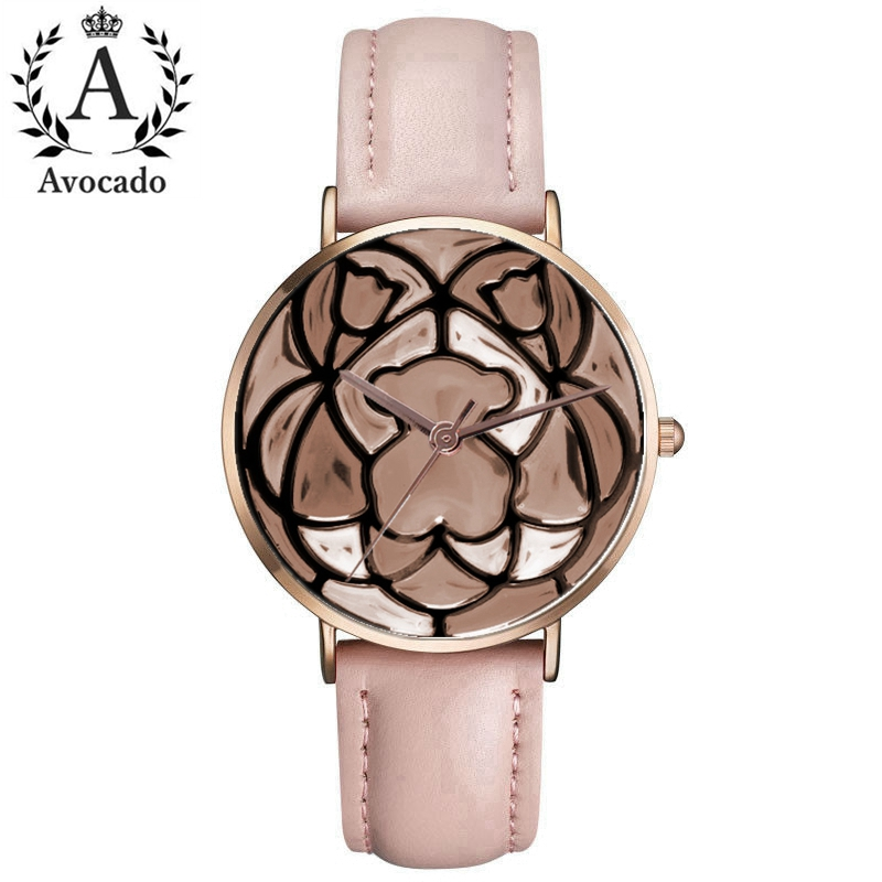 New Fashion Rose Gold Cute Bear Women's Watch Leather Quartz Watch