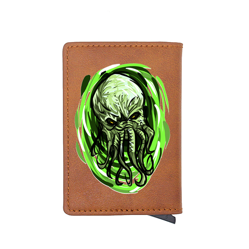 Classic Octopus Design Digital Printing Leather Card Holder Purse Charm Men Women RFID Aluminium Small Leather Wallet