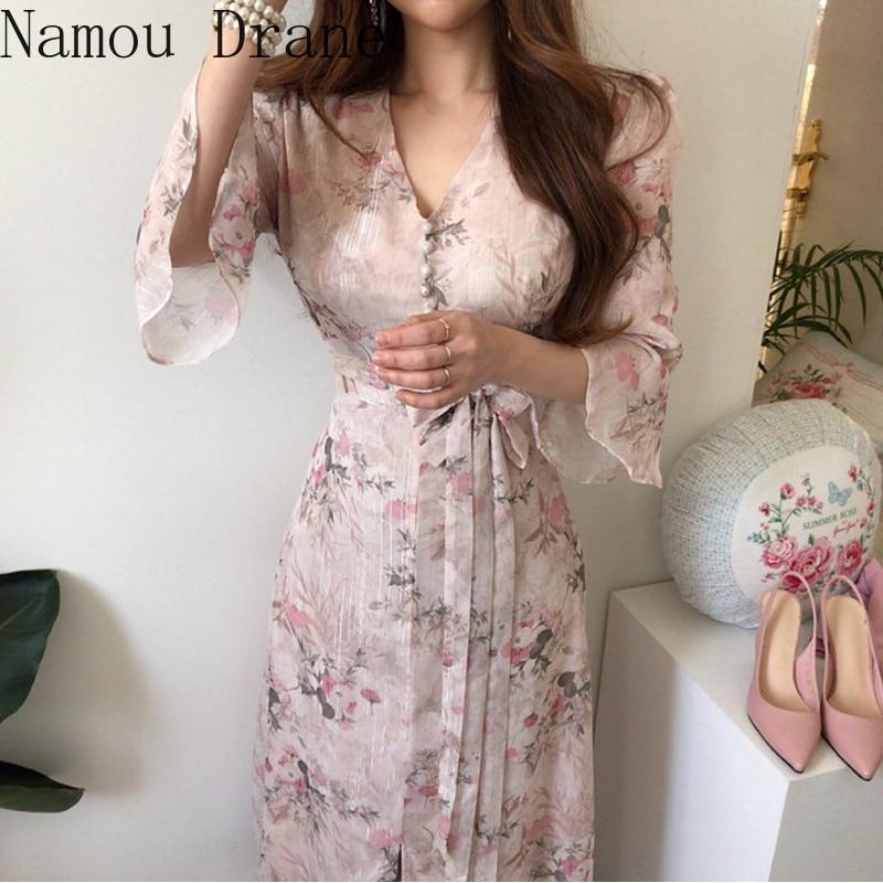 2020 Chic Summer Women Print Midi Chiffon Dress Slim Elegant  Bandage Dress Elegant Runway Dresses Vestido Party Dress