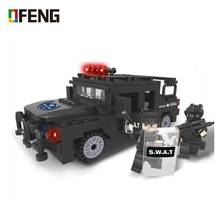 Military Army Ploice SWAT Mini Building Blocks City Hummer Jeep Car 3D Model Bricks DIY Assembly Toy Fit Gift for Children Boy(China)