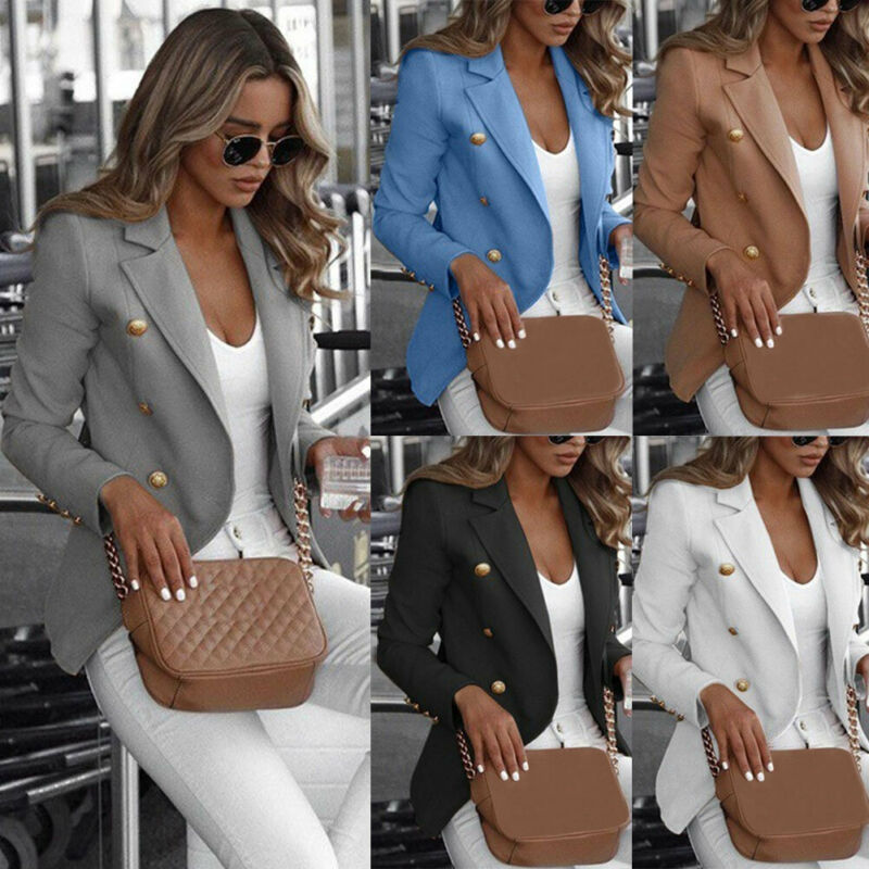 Women Jacket Slim Casual OL Work Slim Coat Long Sleeve Outwear Womens Suit Ladies Top With Button Gray Black White Light Blue
