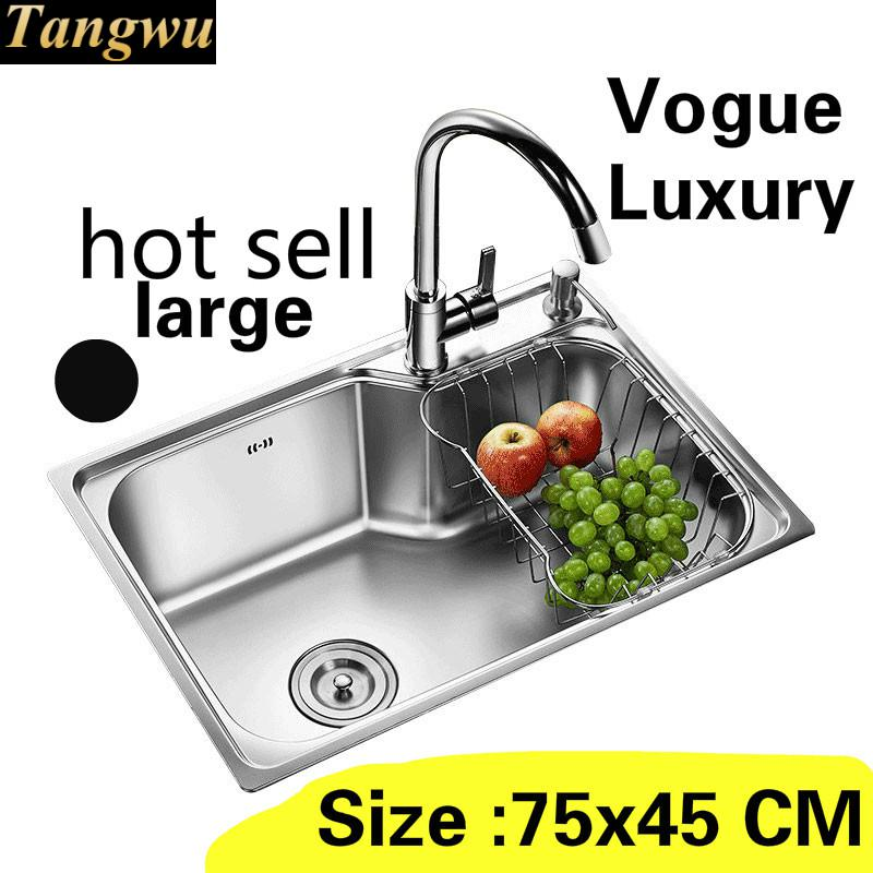 Free Shipping Apartment Kitchen Single Trough Sink Common Do The Dishes Standard 304 Stainless Steel Hot Sell Large 75x45 CM