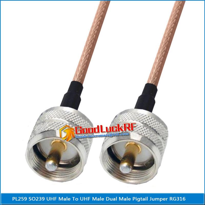 1x pces pl259 so239 PL-259 so-239 uhf macho para uhf macho plugue trança jumper rg316 cabo baixa perda 2 duplo uhf macho de alta qualidade
