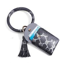 ZWPON 2020 Trendy Snakeskin Faux Leather Bag Colorful Snakeskin Leather Tassel Card Bag Wallet Key Ring Purse for Woman Jewelry metal ring faux leather embroidery tote bag