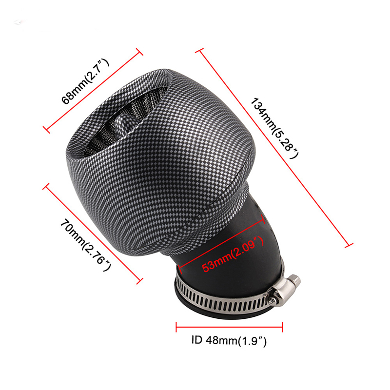 28mm/35mm/45mm/48mm Universal Motorcycle Air Filter Carbon Fiber For 150cc 250cc ATV Quad Moped Scooter Go Kart Pakistan