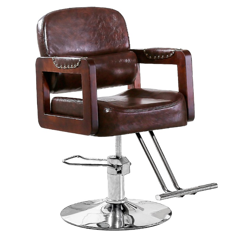 Barbershop Chair Hair Salon Dedicated Solid Wood Retro Haircut Chair Lift Rotary Downside Chair Reclining Salon Chair