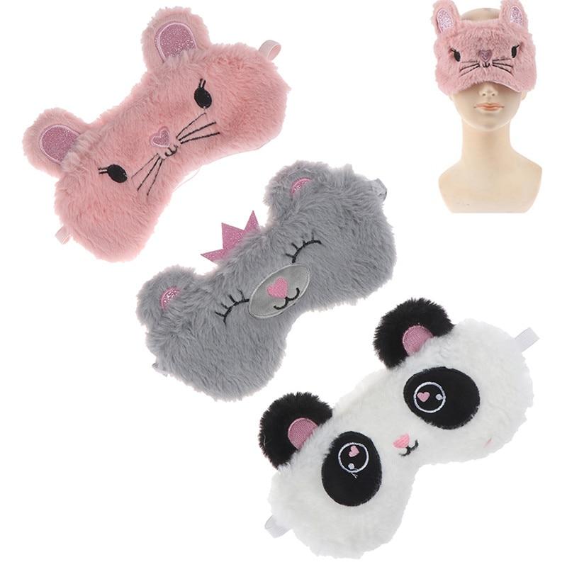 Panda Eye Mask Plush Animal Mouse Bear Eye Cover Cute Plush Eye Mask Girl Toy Suitable For Travel Home Party Eyeshade