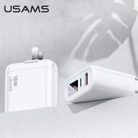 USAMS Quick Charge PD 3.0 USB Type C Port Charger EU Mobile Phone Charger Adapter Fast Charging for Samsung Xiaomi iphone huawei IPad