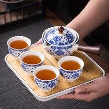 Flowers Exquisite Stone Grinding Shape Tea Set Handmade Tea Pot Cup Set Chinese Tea Ceremony Gift GungFu Tea Cup Teaware Unique