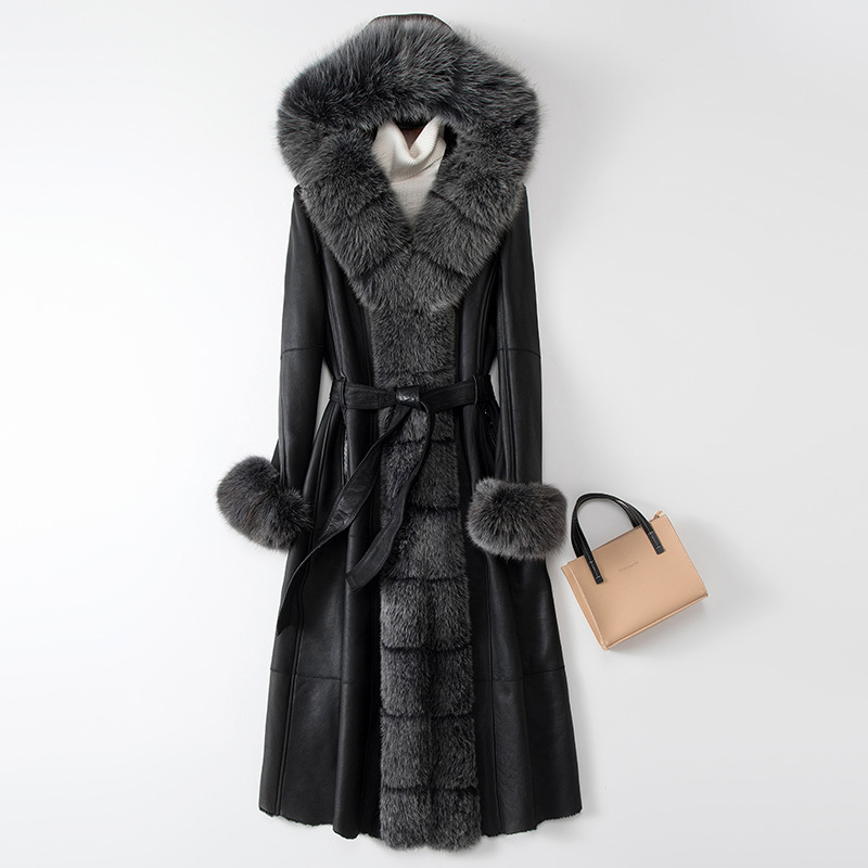 2020 Winter Real Fur Coat Women Natural Sheep Shearling Jacket Women Long Genuine Leather Coats Korean Double Faced Tops 8849