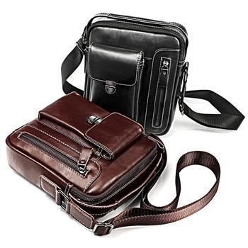 Sundo Vertical Crossbody Bag Casual Shoulder Bag Genuine Leather Men Messenger Bag Fashion Men's Handbag Travle Male Flap Bag