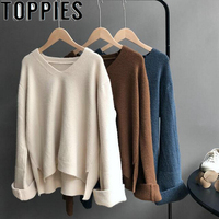 2019 Autumn Winter Women V neck Long Sleeves Sweaters Oversize Soft Pullovers Beige Coffee Color