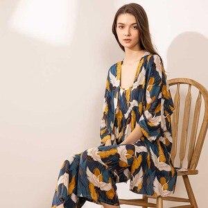 Image 2 - 2020 SPRING & FALL New Ladies Pajamas Set Comfort Loose Large Size Femme Sleepwear Crane Printed Elegant Women 3Pcs Homewear