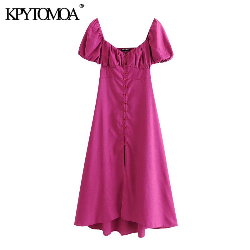 KPYTOMOA Women 2020 Chic Fashion With Buttons Linen Midi Dress Vintage V Neck Puff Sleeve Back Elastic Female Dresses Vestidos