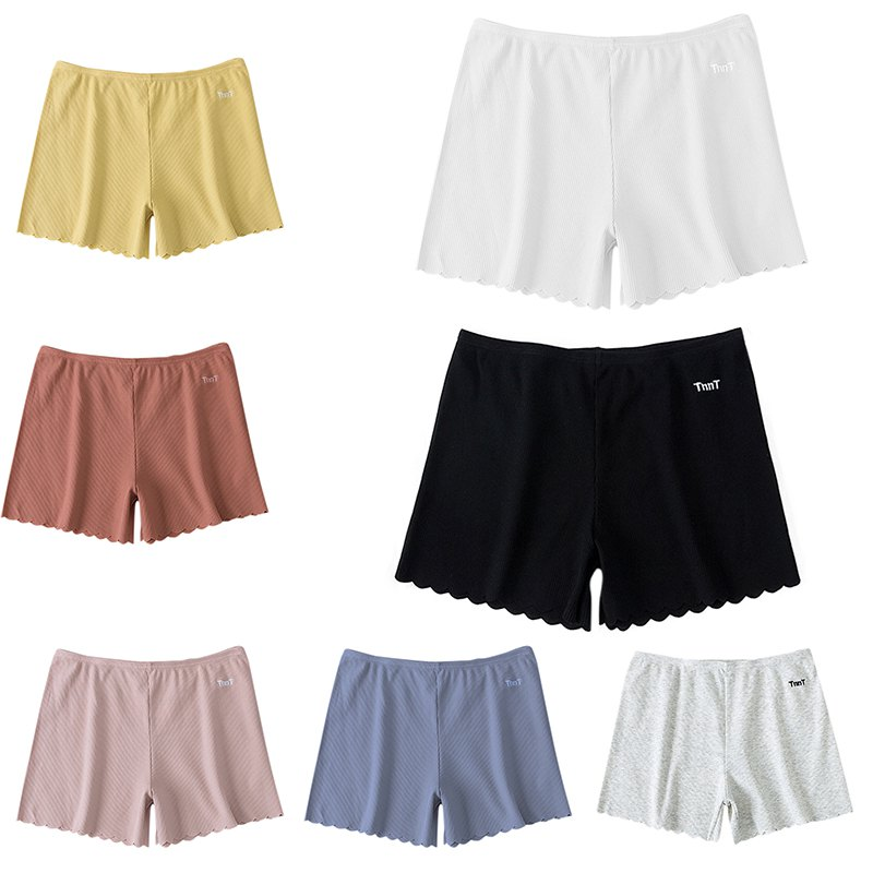 Women Shorts  Sofa Solid Color Cotton Blend Stretchy High Waist Tight Three-leg Cotton Thread Embroidered Wavy Shorts