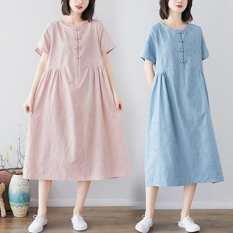 Summer Chinese-style Frog Ethnic-Style Jacquard Mid-length Cotton Linen Big Hemline Dress WOMEN'S Dress