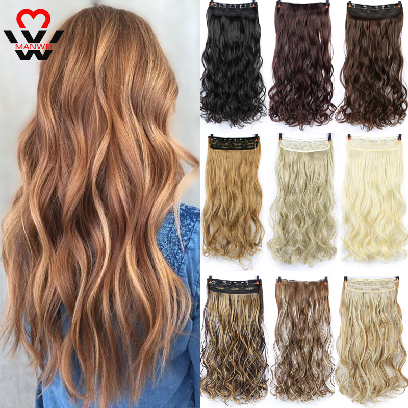 MANWEI 24inches Synthetic Hair Straight Blonde Clip In Hair Extensions Hairpins False Hair Hairclip Hair On Barrettes False Stra