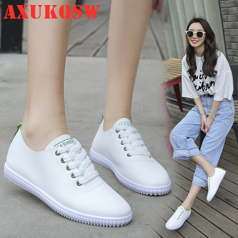 Women Sneakers White Flat Shoes Lace Up Round Toe Casual Women Shoes Fashion Breathable Women Shoes 35-40 Student Running Shoes