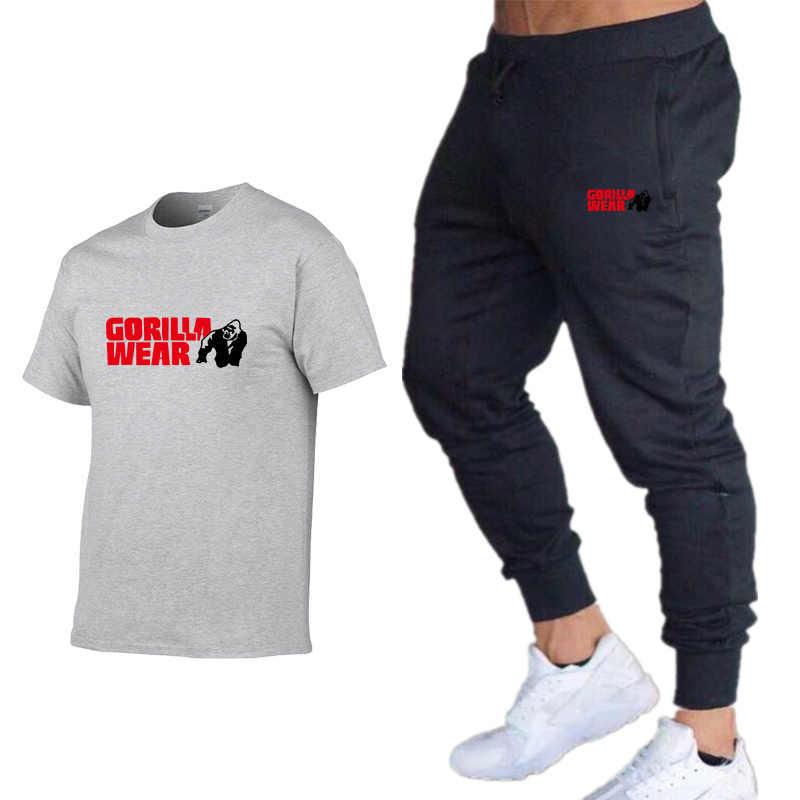 GORILLA garnitur męski T-shirt + spodnie dwuczęściowa odzież sportowa mężczyźni i kobiety nowa moda drukowanie garnitur odzież sportowa