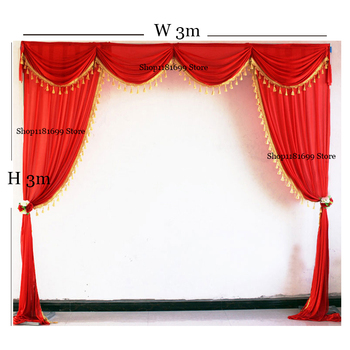 3M and 6M Width wedding backdrop drape swag valance with tassel beads for wedding event party backdrop curtain decoration