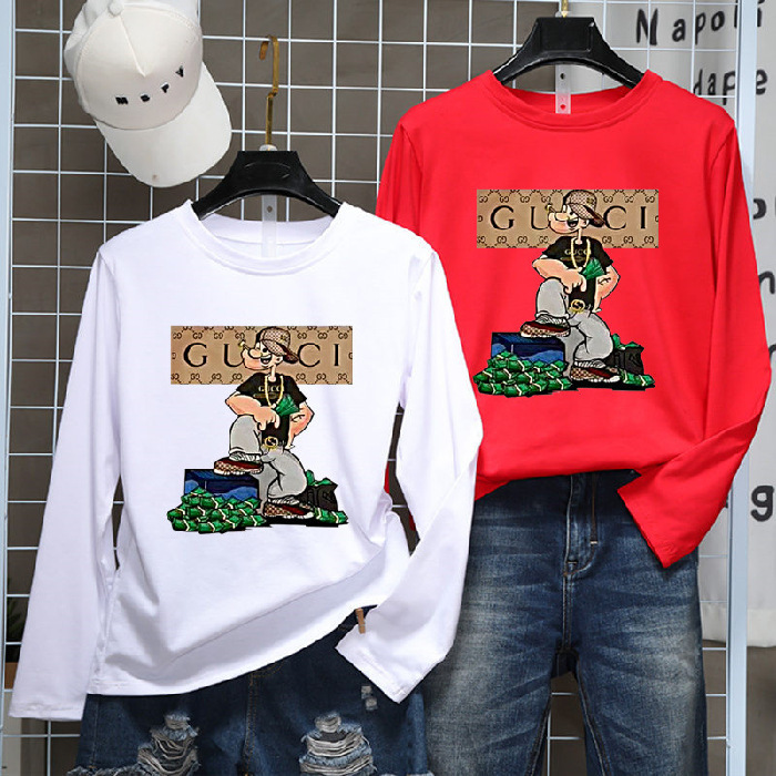 Photo Shoot 2019 Summer And Autumn New Style Long-sleeved T-shirt Couple Clothes Loose-Fit Versatile Men And Women Ultra-Stylish