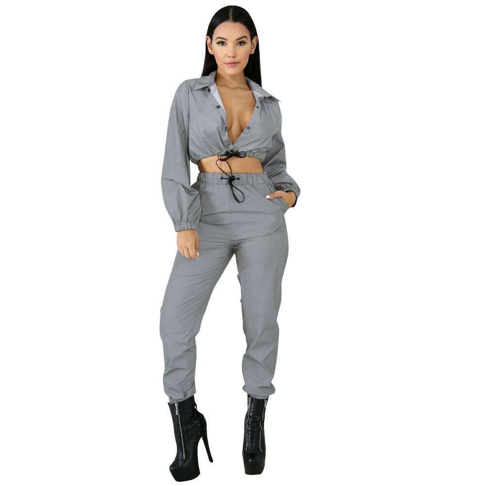 Nowych kobiet Sexy odblaskowe dres Streetwear odblaskowe przycisk z długim rękawem Crop Top długie spodnie na co dzień pani klub dresy sportowe