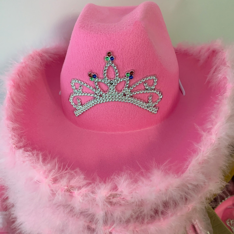 Cowgirl Hat in Pink with Feather Made Selvege Wool Felt Fedora Tiara Decorated