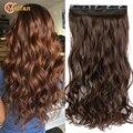 MEIFAN 100 см длинные прямые/волнистые вьющиеся удлинители волос с зажимом черные коричневые Натуральные Искусственные волосы кусок 3/4 головка ...