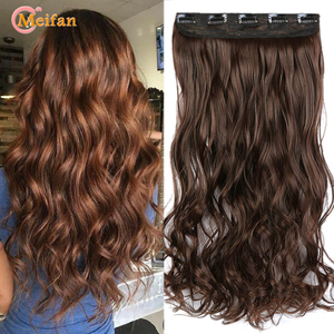MEIFAN 100cm Long Straight/Wavy Curly Clip in Hair Extensions Black Brown Natural Fake Hair piece 3/4 Head on Hairpin Hairpieces
