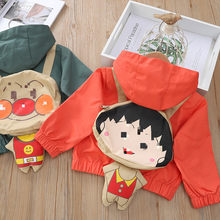 Girl'S Coat Spring And Autumn 2020 Korean-style CHILDREN'S Garment Baby Hooded Jacket Little Girl Cartoon Backpack Long Sleeve T(China)