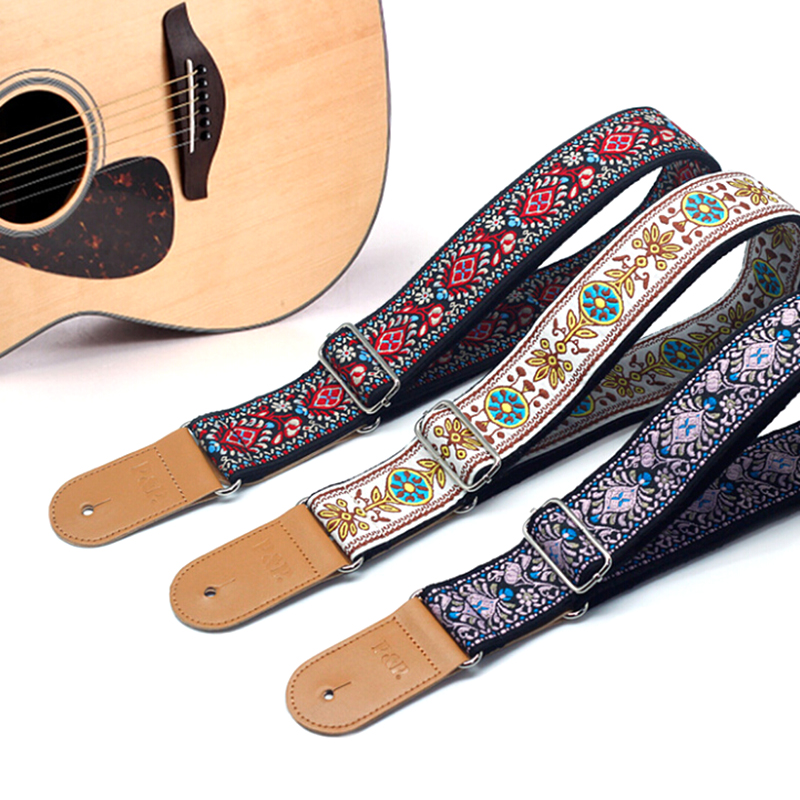 Embroidery Jacquard Leather Guitar Strap Holder Button Safe Lock for Acoustic Electric Classic Guitar Bass Accessories