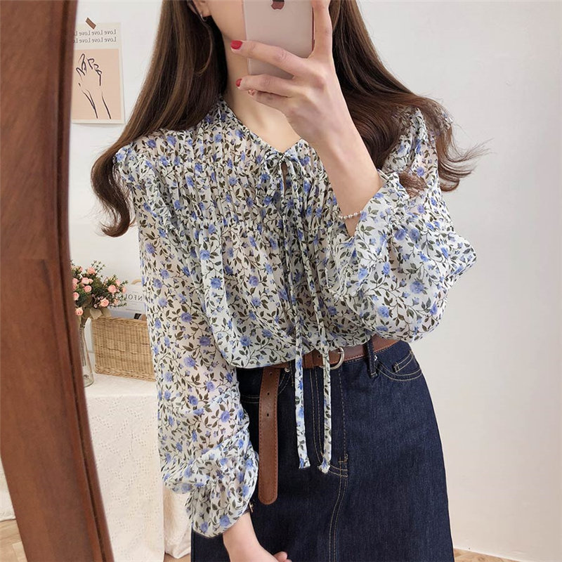 Alien Kitty Sweet Chic Large Size Casual 2020 Bow Gentle Flare Sleeves Thin Brief Print Cute Floral All-Match Stylish Blouses