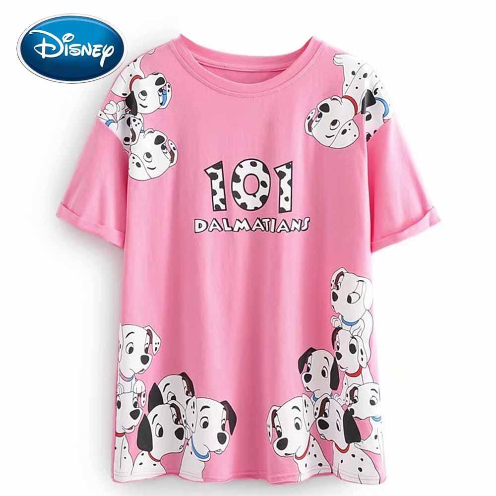 Disney Cute 101 Dalmatians Dog Cartoon Letter Print Pink Women T-Shirt O-Neck Pullover Short Sleeve Casual Loose Cotton Tee Tops