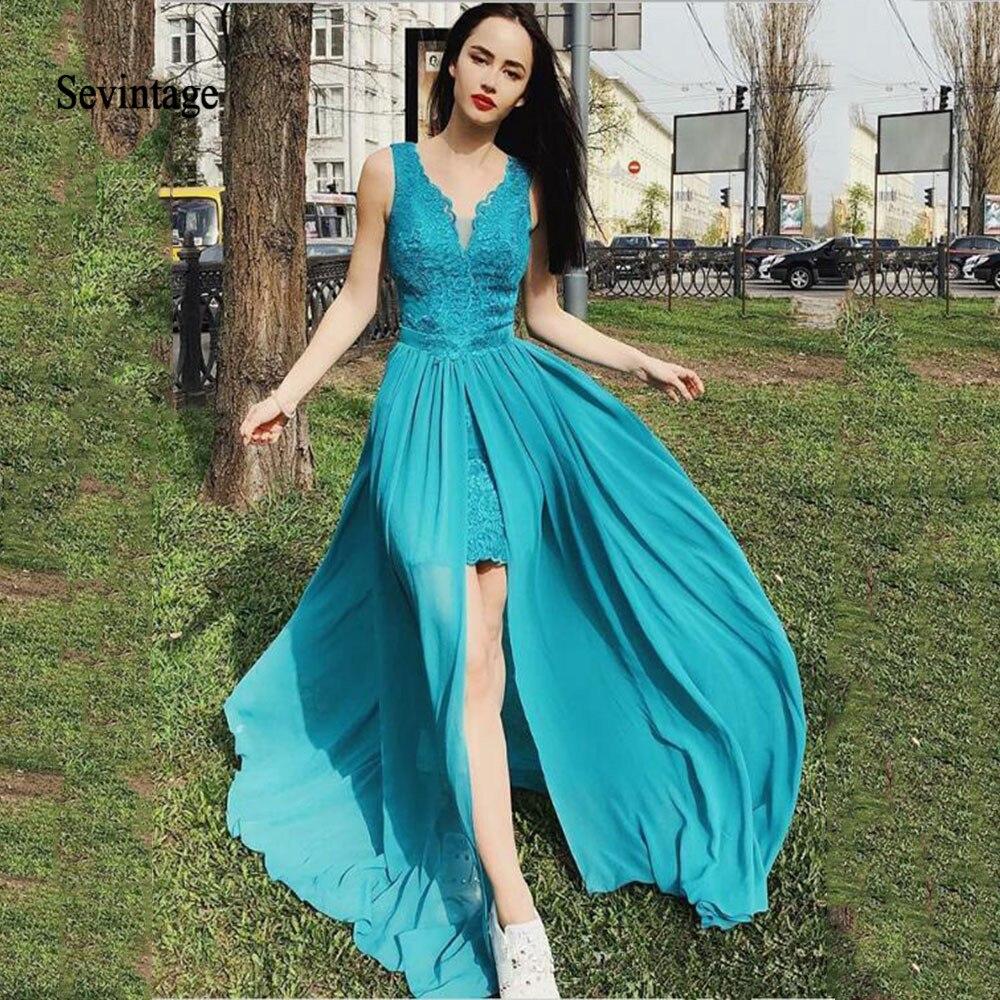 Sevintage Two Pieces Prom Dress Detachable Skirt Lace V Neck Front Split Evening Dresses Chiffon Women Gowns Robe De Gala 2020