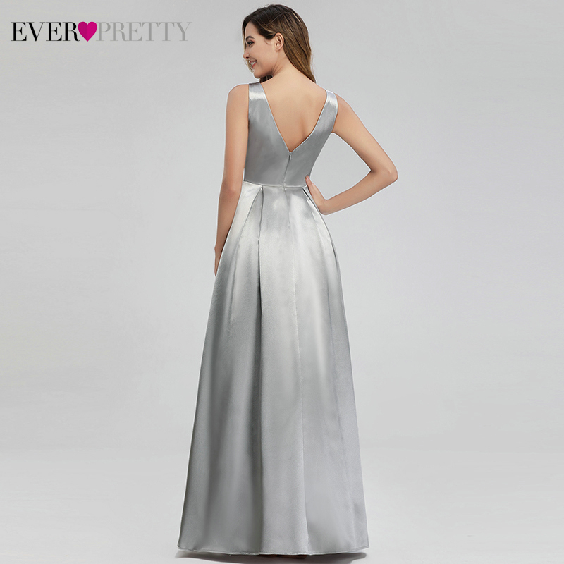 Image 3 - Grey Satin Evening Dresses Long Ever Pretty A Line Double V Neck Formal Dresses Women Elegant Party Gowns Robe De Soiree 2019-in Evening Dresses from Weddings & Events