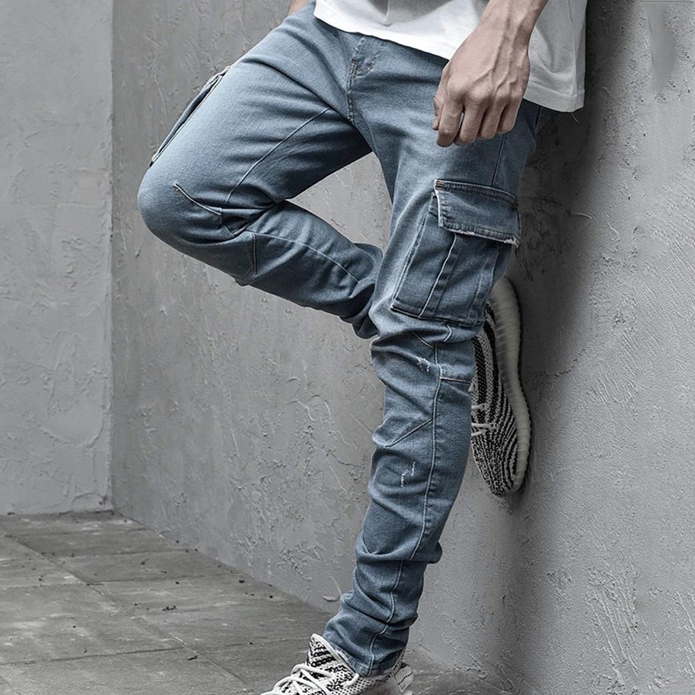 Fashion Sknny Jeans Men Casual Pocket Pencil Pants Jeans Men Clothing Jogger Denim Pants Ropa Hombre Casual Denim Pants Jeans