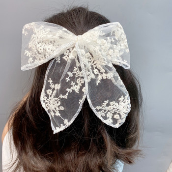 Black And White Lace Bowknot Hairpin Pure Handmade Duck Bill Clip Female Haarband 2020 New Luxury Big Sunflower Hair Hoops Girls