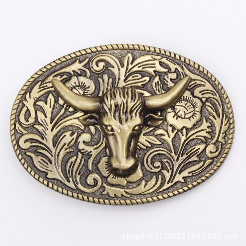 Handmade Homemade Belt Accessories Golden Bull Head Belt Buckle Waistband DIY Western Cowboy Rock Style