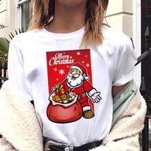 Женская футболка с коротким рукавом рождественским принтом
