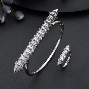 Image 5 - MoonTree New Arrive Luxury Nail Shape Super Shing Full AAA Cubic Zriconia Wedding Saudi Arabic Dubai Bangle Ring Set For Women
