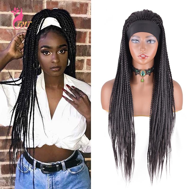 Perucas trançadas com bandana completa caixa de peruca sintética tranças peruca perucas de bandana para mulher fácil de usar