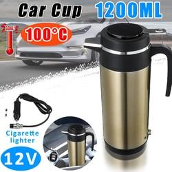 1200 Ml 12V Mobil Truk Electric Heating Cup Termostatik Ketel Stainless Steel Auto Perjalanan Cokelat Kehitaman Teh Mendidih Mug Vacuum labu