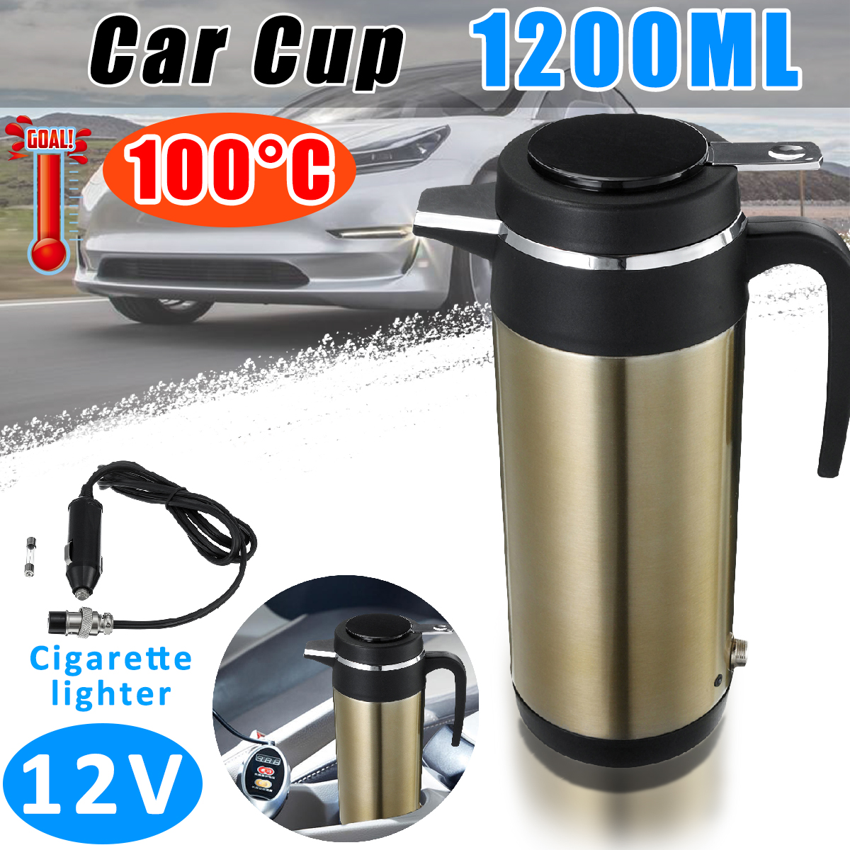 1200ml 12V Car Truck Electric Heating Cup Thermostatic Kettle Stainless Steel Auto Travel Coffee Tea Boiling Mug Vacuum Flask