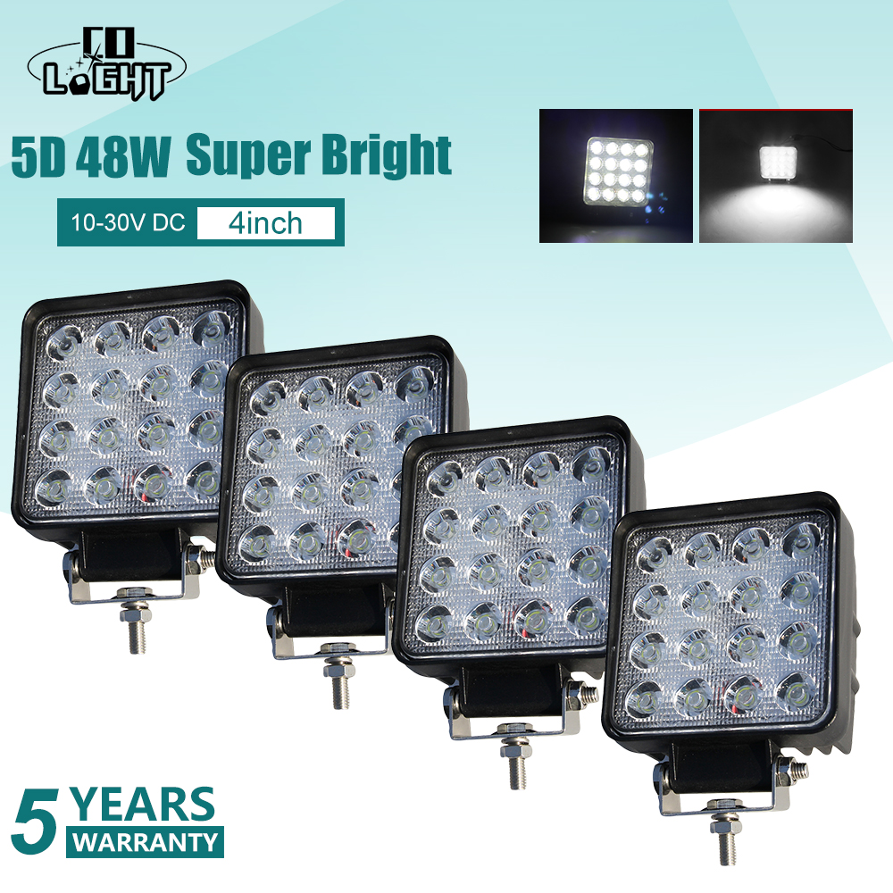CO LIGHT 5D 4inch 48W Square LED Work Light Driving Led Beams High Power DRL For Jeep 4x4 Offroad ATV Truck Tractor Boat 12V 24V