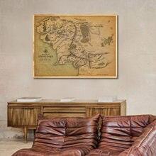 Kraft di Carta della Tela di Canapa Pittura Su il Signore Degli Anelli Retrò Middle Earth Map Poster E Stampe Autoadesivo Della Parete Per Soggiorno di Casa decorazione