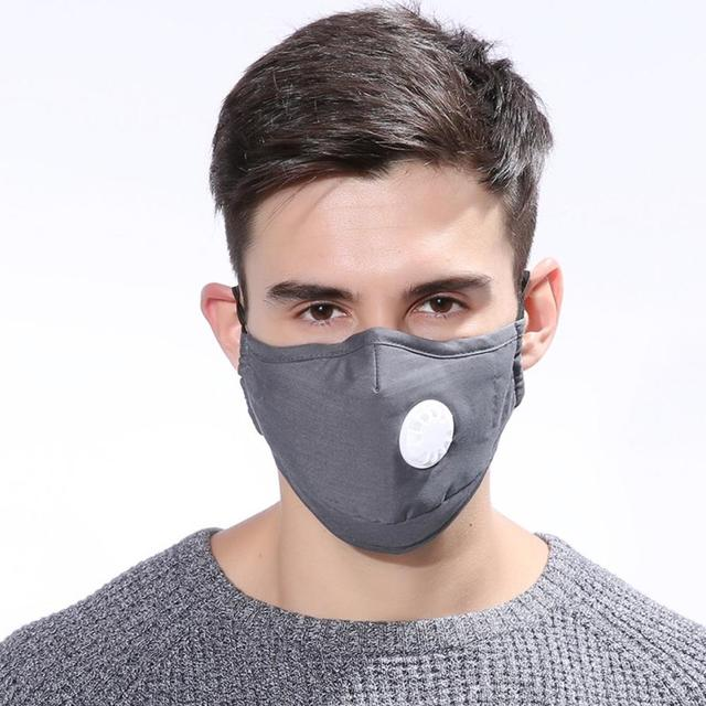 Cotton PM2.5 Black mouth Mask Anti Haze Anti-dust Mask Activated Carbon Filter Respirator bacteria proof Flu Face masks Washable 5