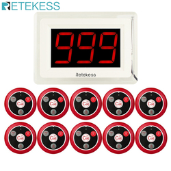 RETEKESS 433MHZ Wireless Pager Calling System for Restaurant Waiter Nurse with Voice Report 1 Host Display + 10 Table Bell