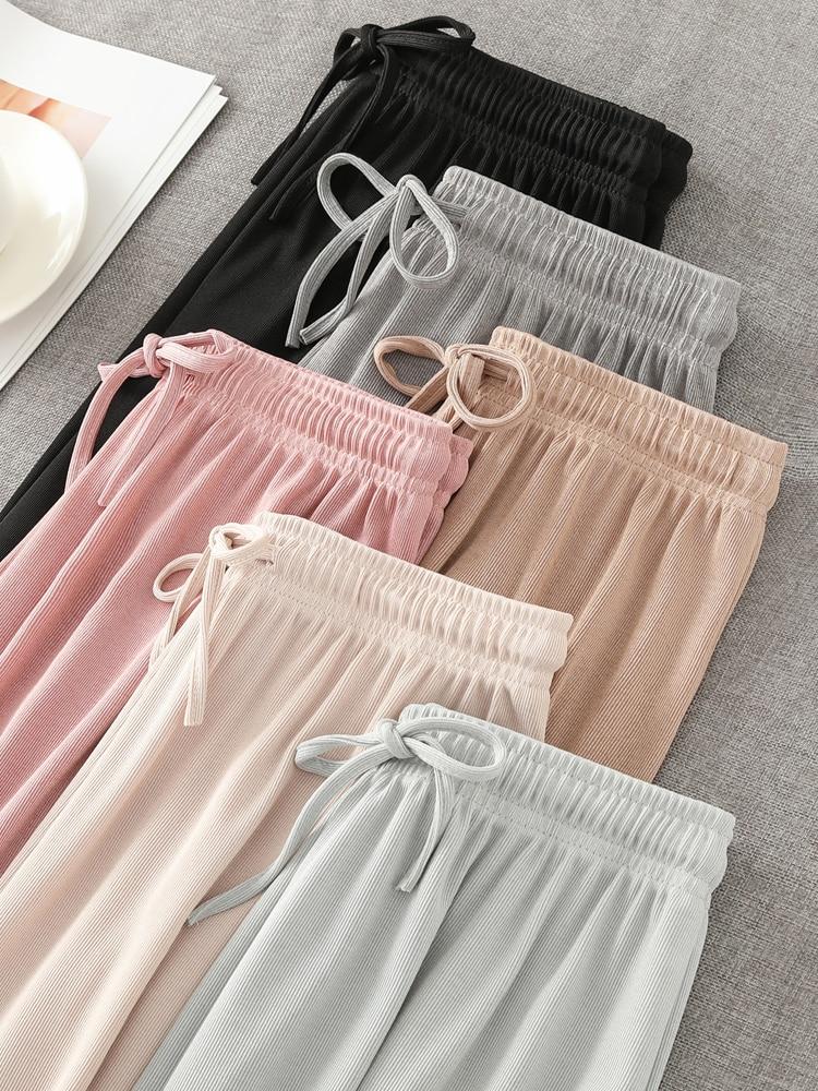 Ice Silk Wide Leg Pants Big Yards Loose Pant 2020 Women's Summer Fashion Culottes Elastic Waist Ankle-Length Pants Casual Pants