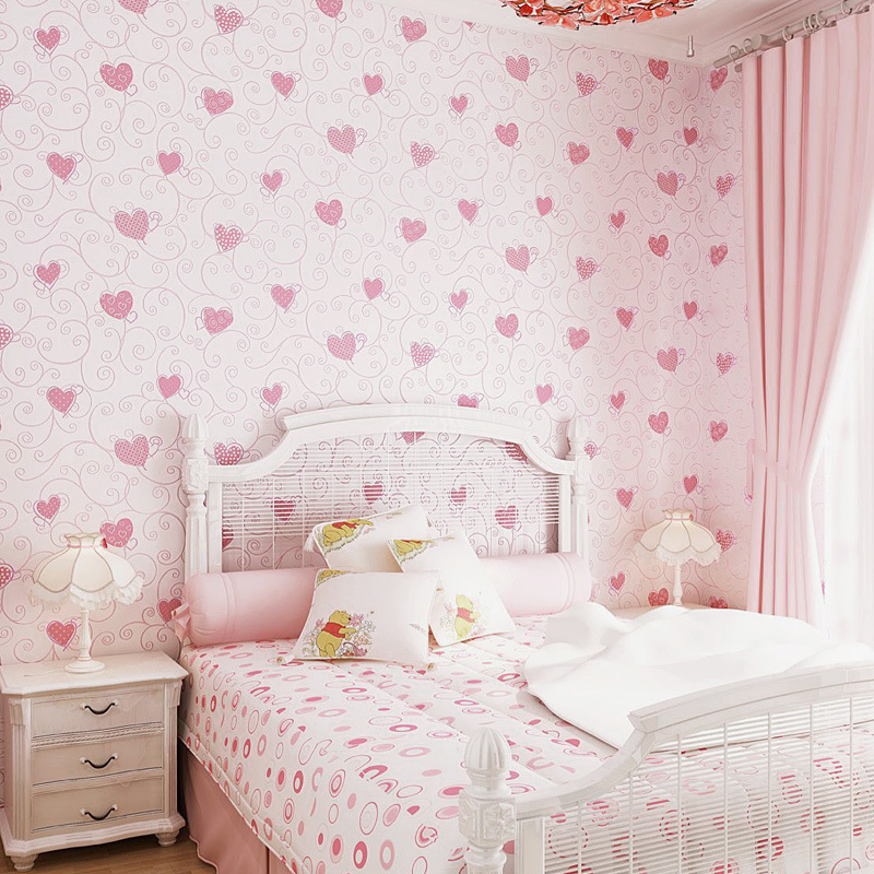 Pink Heart GIRL'S Heart Self-Adhesive Non-woven Wallpaper Warm Romantic Girl Bedroom CHILDREN'S Room Self-adhesive Wallpaper